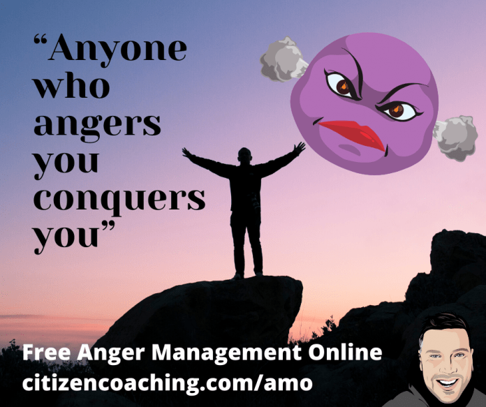Anger Management Quotes Does Anger Conquer You? picture of man on mountain and an angry face emoji