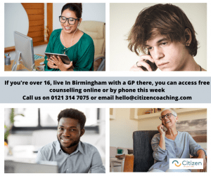 free counselling in birmingham images of people on phone and online